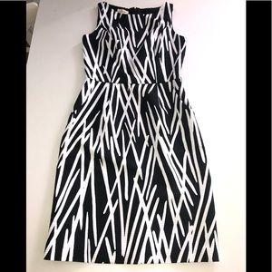 Talbots dress black white stripe print 6